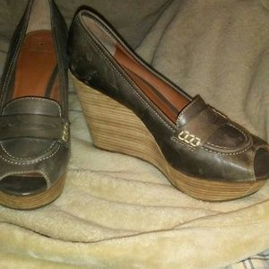 """Lucky Brand Taupe Peep Toe Leather Mules 4"""" Heel"""